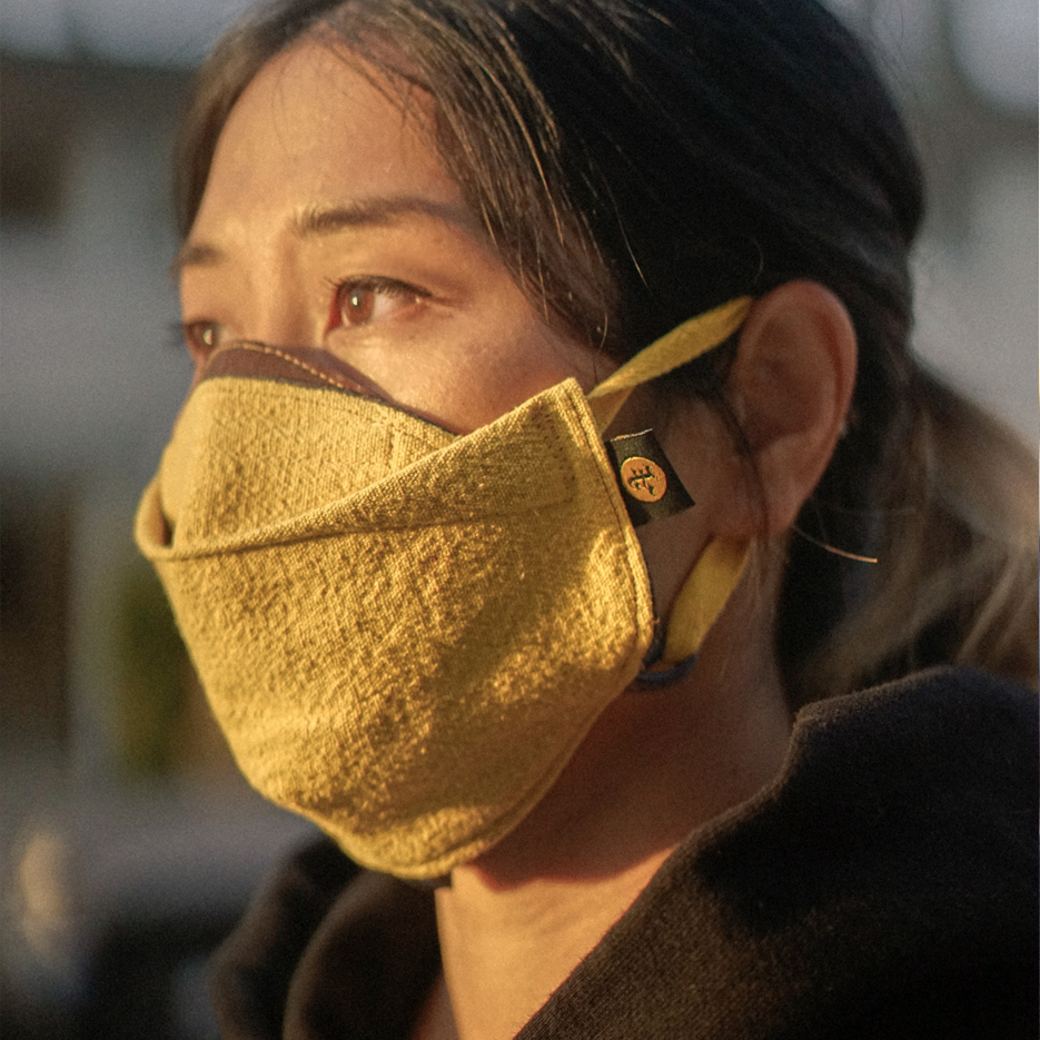 Yellow natural dye custom face mask. golden hour in LA