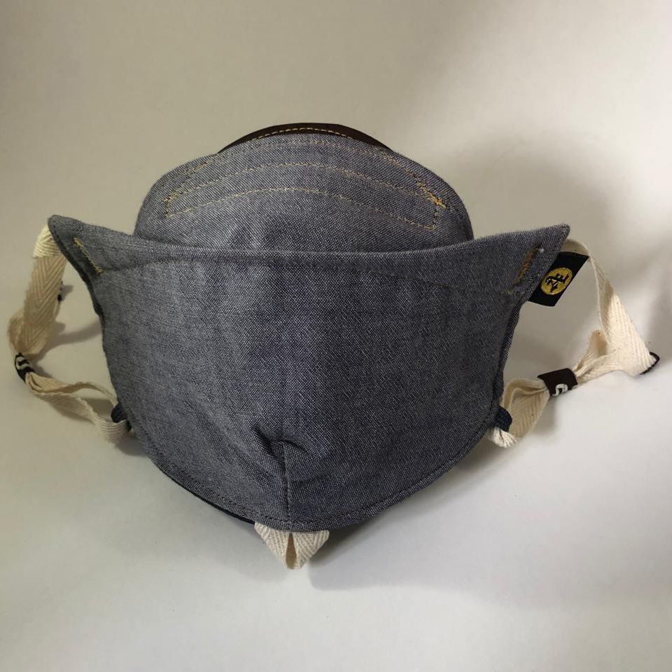 Product shot of Boro custom face mask option without embroidery. this mask is a chambray denim like color